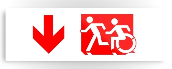 Accessible Means of Egress Icon Exit Sign Wheelchair Wheelie Running Man Symbol by Lee Wilson PWD Disability Evacuation Metal Printed Disability Emergency Evacuation Metal Printed 64