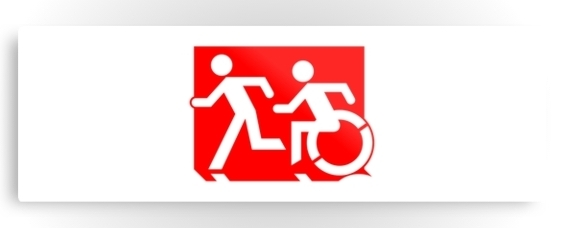 Accessible Means of Egress Icon Exit Sign Wheelchair Wheelie Running Man Symbol by Lee Wilson PWD Disability Evacuation Metal Printed Disability Emergency Evacuation Metal Printed 65