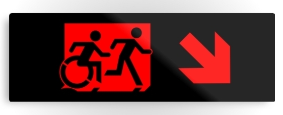 Accessible Means of Egress Icon Exit Sign Wheelchair Wheelie Running Man Symbol by Lee Wilson PWD Disability Evacuation Metal Printed Disability Emergency Evacuation Metal Printed 66