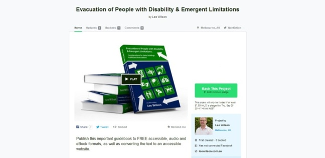 Kickstarter, Evacuation of People with Disability