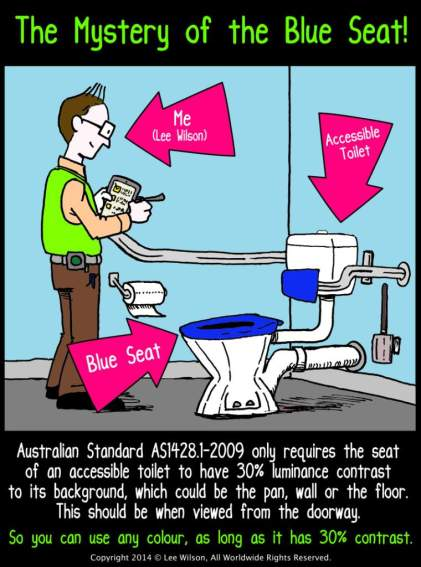 Accessible Toilet Blue Seats AS1428.1 Cartoon by Lee Wilson Disability Access Consultant