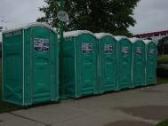 6 portable toilets along pathway