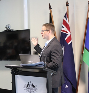 Lee Wilson presenting to a Government Department