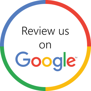 Review us on Google text with the Google coloured letters logo